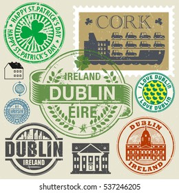 Travel stamps or symbols set, Ireland, Dublin theme, vector illustration.