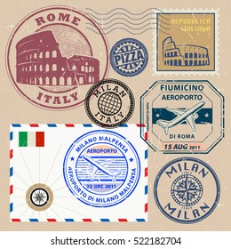 Travel stamps or symbols set, Italy theme, vector illustration