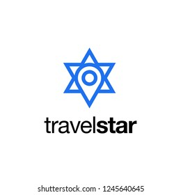 travel star or map pin with star