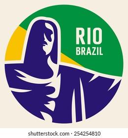 Travel sticker Brazil. Vector illustration. Luggage sticker