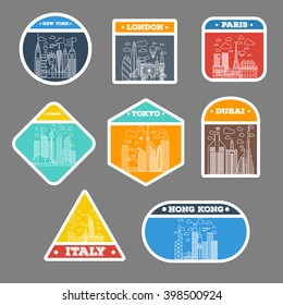 travel sticker city icon set. london, new york, paris, tokyo, sydney, dubai, italy, hong kong. suitcase sticker badges. with thin line icons
