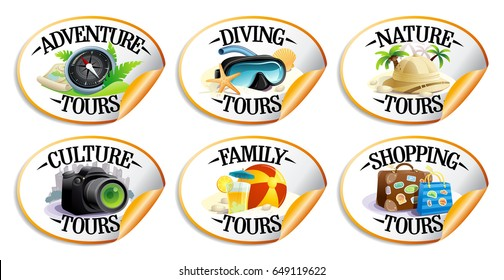 Travel stickers set - diving, nature, culture, family, shopping tours and adventure tours