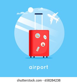 Travel suitcase at the airport. Flat design vector illustration.
