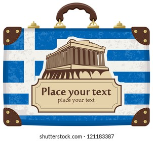 travel suitcase with flag of Greece and the Acropolis