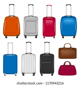Travel suitcase icon set. Realistic set of travel suitcase vector icons for web design isolated on white background