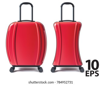Travel suitcase isolated. Vector 3D illustration