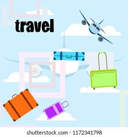 travel suitcase plane vector background