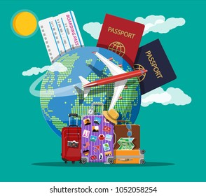 Travel suitcase with stickers of countrys and citys all over the world. Globe with travel destinations, airplane. Passport and boarding pass. Vacation and holiday. Vector illistration in flat style