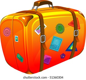 Travel suitcase with stickers. Vector illustration. Over white.