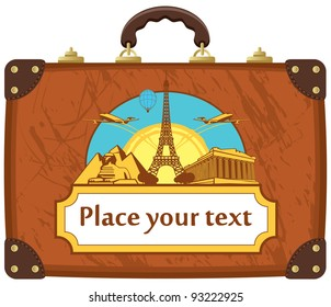 travel suitcase with various tourist attractions