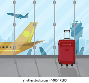 Travel suitcases inside of airport with a plane, control tower, cityscape in background. Travel, vacation, Business trip concept. Vector illustration in flat design.