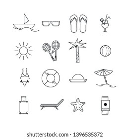 Travel and summer beach icon set. Linear art. Hand-drawn. Flat design. Vector illustration.