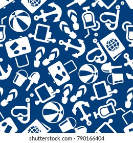 Travel and summer beach vacation seamless pattern on blue background with cocktail, luggage, anchor, beach toys, diving mask, passport. Travel and beach leisure activity design