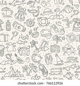 Travel and summer seamless pattern, journey and trip background. Adventure time pattern in hand draw style, vector sketch elements on repeatable pattern