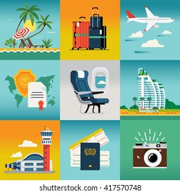Travel summer trip destination and beach resort hotel square concept illustrations with palm beach, jet liner flight, travel insurance, luggage, airport, hotel, cabin seat, camera