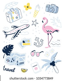 Travel and summer vacation patch or stickers set. Vector illustration isolated on white background.