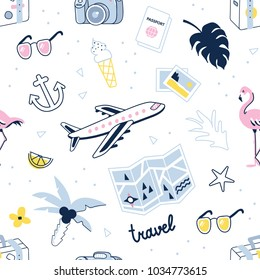 Travel and summer vacation seamless pattern. Vector illustration isolated on white background.