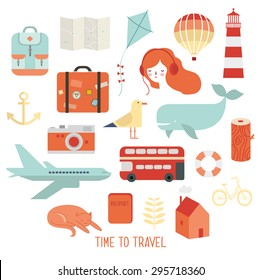 Travel and summer vector icons set.