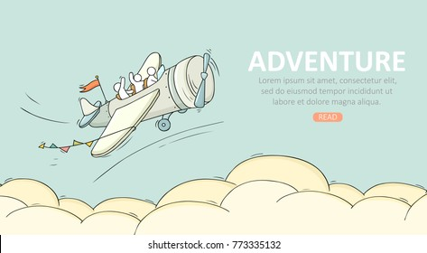 Travel temblate with airplane. Doodle cute miniature scene about adventure. Hand drawn cartoon vector illustration.