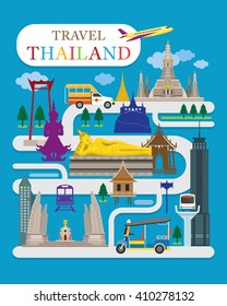 Travel Thailand Flat Design Vector, Landmarks, Temple, Tuk Tuk, Map
