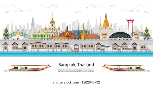 Travel to Thailand landmark and travel palace. flat style