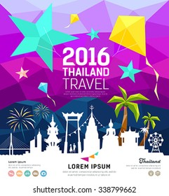 Travel Thailand new year with silhouette landmark on colorful geometric design background, vector illustration