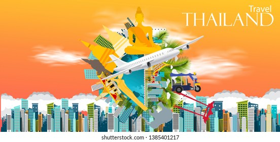 Travel Thailand  Text  - airplane and Cloud - Building in the city, Buddha statue,pagoda,elephant, -modern Idea and Concept - Vector