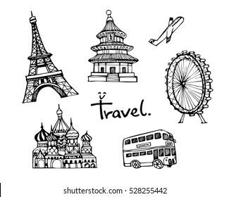 Travel theme doodle vector set