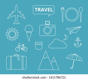 Travel theme icons, thin style