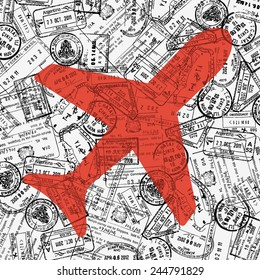 Travel theme illustration with plane icon and border stamps pattern