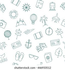 Travel theme seamless pattern with modern graphic thin line elements
