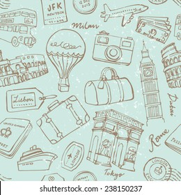 Travel theme seamless vector grunge background