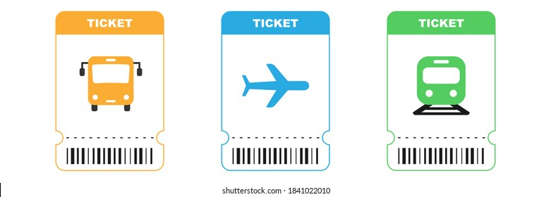 Travel tickets for bus, plane and train. Isolated subway and railway pass card. Airplane ticket with barcode on white background. Transport pictogram in orange, blue and green colors. EPS 10