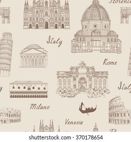 Travel tiled background. Italy famous landmark seamless pattern. Italian city architecture travel sketch.