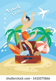 Travel Time Banner with Happy Man in Swimming Shorts Jumping Out of Suitcase with Traveling Attributes on Seaside Background with Flying Airplane. Summer Vacation Cartoon Flat Vector Illustration.