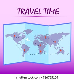 Travel time.Folded world map with route on pink background. Vector illustration