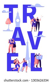 Travel Tour Around World Typography Banner Design. Holiday Trip to Europe International Sale Offer. Weekend Tourism Voyage Advertising Concept Vertical Poster Design Flat Cartoon Vector Illustration