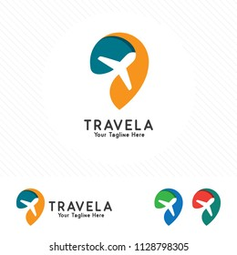 Travel and tour logo concept, airplane icon with pin map symbol.