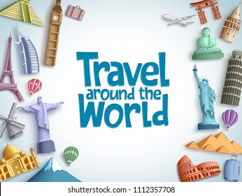 Travel and tour vector background template with travel around the world text and famous tourist destinations and landmarks elements in white background. Vector illustration.