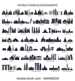 Travel and tourism background. Big set of world famous monuments. Vector illustration