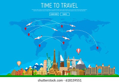 Travel and tourism background. Big set of famous landmarks and world map. Web-banner. Vector illustration.