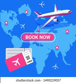 Travel and tourism background. Booking online tickets. Travel, Business flights worldwide. Air travel world globe airline tickets.
