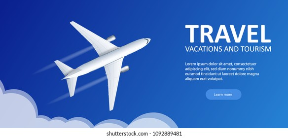 Travel and tourism background. Buying or booking online tickets. Travel, Business flights worldwide. Flat vector illustration