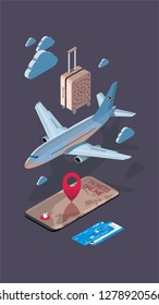 Travel and tourism background. Buying or booking online tickets. Travel, Business flights worldwide. Flat 3d isometric vector illustration