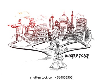 Travel and Tourism Background with Famous World Landmarks, Hand Drawn Sketch Vector illustration.