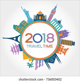 Travel and tourism background. New Year background. Colorful template with icons and tourism landmarks. Illustration of flat design travel composition with famous world landmarks.