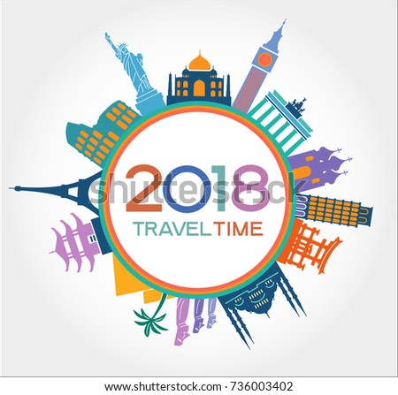 travel and tourism background new year background colorful template with icons and tourism landmarks