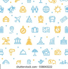 Travel and Tourism Background Pattern Color Thin Line Icons on White for Web and App. Vector illustration