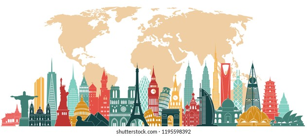 Travel and tourism background. World famous monuments skyline. Vector illustration