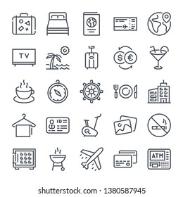 Travel and Tourism bold line icon set. Vacation linear icons. Holiday outline vector sign collection.